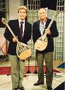 "8/12/1998 -- Aggis Giannopoulos & Evangelos Metaxas on the set of ""Syn-Plyn"" Greek TV show"